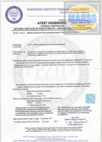 Certyfikaty filtry HEPA